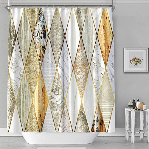 """Shower Curtain - Print Polyester Fabric Waterproof Shower Curtain by iLiveX, Machine Washable, Hooks Included, Bathroom Decoration, 72""""x72"""" Marble Pattern"""