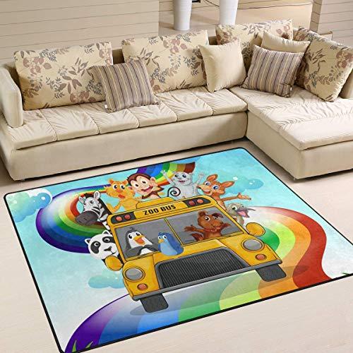 Trista Bauer Cartoon Zoo Bus Regenbogen AFFE Zebra pende Bereich Teppich, rutschfeste Teppichboden Türmatte 36x24 in