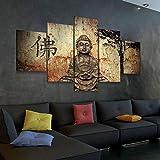 45Tdfc Lienzo en Cuadro Abstracto Moderno200x100cm Impresión Antigua creencia Religiosa de Buda 5 Piezas Material Tejido no Tejido Impresión Artística Imagen Gráfica Decoracion de Pared Arte