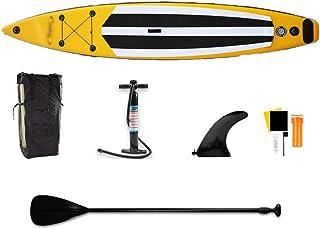 Fklee Tablero Inflable de Sup Sup Stand Up Paddle Board Set for Flotar en el río Tabla de Surf (Color : Amarillo, tamaño : 381x71x15cm)