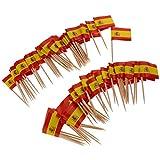 F Fityle 100pcs Palillos para Cócteles Decorativas Banderas, Material Papel y Madera - España
