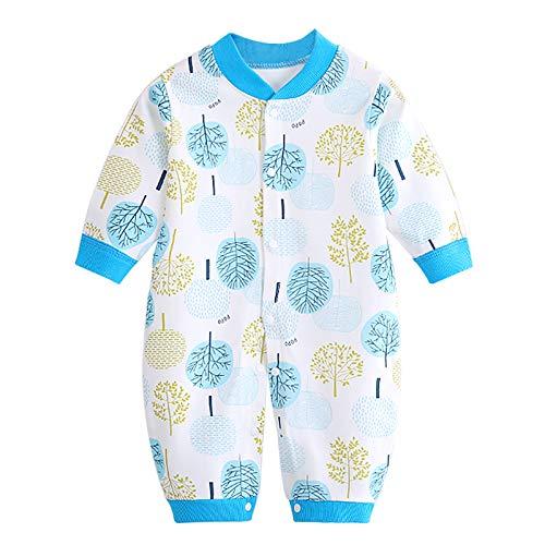 JinBei Pelele Bebé Niños Mameluco Algodon Pijama Sleepsuit Recien Nacido Mamelucos Manga Larga Mono Caricatura Trajes Pijamas, Impresión de Hoja Azul 3-6 Meses
