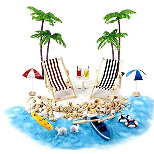 Casa de mu?ecas en miniatura Accesorios Beach Decoraci¨n del paisaje de la playa Micro con tumbonas Parasoles de la palmera para el verano 18PCS mu?eca decoraci¨n de la casa