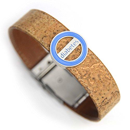 Pulsera identificativa, Codylife Nature logo Diabetes. Brazalete de corcho muy resistente y cierre de seguridad.