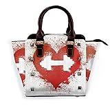BROWCIN Fitness corazón rojo icono con manchas salpicaduras con mancuernas Grunge amor artístico Desmontable Moda Tendencia Bolso de las señoras Bolso de hombro