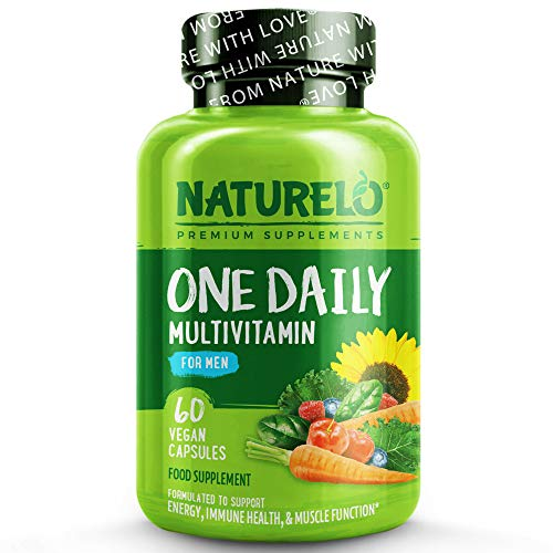 NATURELO One Daily Multivitamin for Men - with Natural Food-Based Vitamins, Fruit & Vegetable Extracts - Best for Maintaining Essential Nutrients - Non-GMO - 60 Vegan Capsules | 2 Month Supply