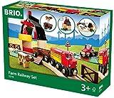 BRIO World 33719 Bahn Bauernhof Set – Holzeisenbahn mit Bauernhof, Tieren und Holzschienen –...