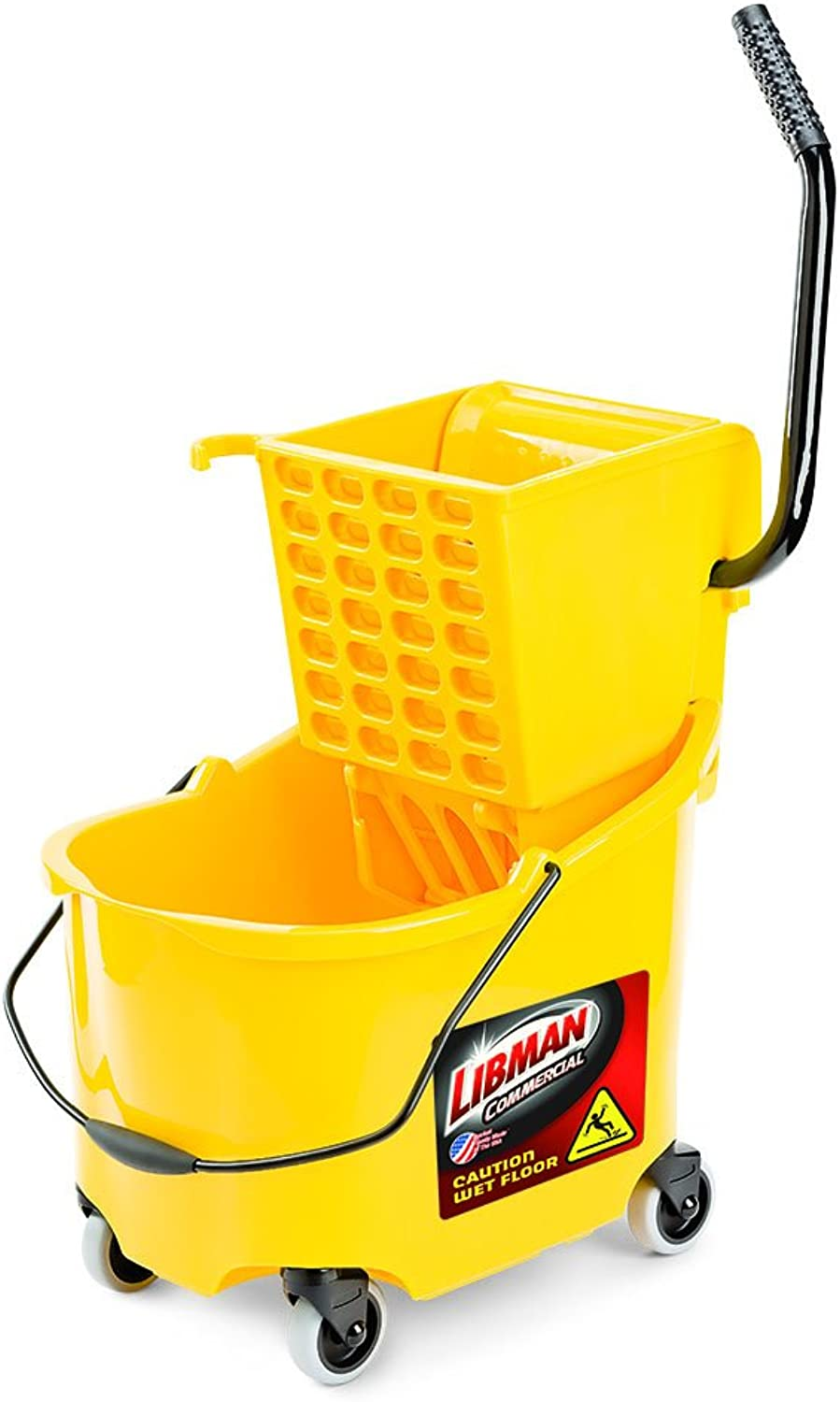 Libman Commercial 933 26 Quart Mop Bucket and Wringer, 36  Length, 16  Width, Yellow