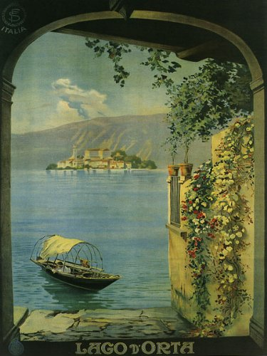 """Lago D'orta Is a Lake in Northern Italy West of Lake Maggiore Travel Italiana Italian 12"""" X 16"""" Image Size Poster Reproduction"""