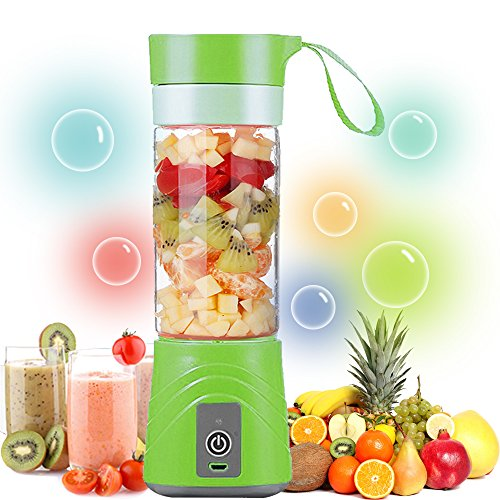 8. ZALALY USB Juicer Cup-Portable Rechargeable Blender and Mixer Personal Size Electric Fruit Mixing Machine,Mini Smoothie Maker,Water Bottle 380ML(Green)