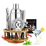 13 Pcs Cocktail Shaker with Rotating Bamboo base,Bartending Kit Stainless Steel Cocktail Bar T