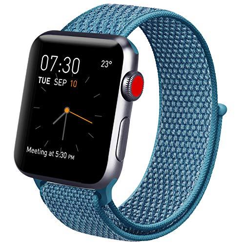 Vancle コンパチブル Apple Watch バンド 38mm 40mm 42mm 44mm ナイロンスポーツループバンド iWatch Series4/3/2/1に対応 (42mm/44mm, 04 ケープブルー)