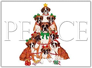 Boxer Christmas Cards Peace : 10 Holiday Cards with Red Envelopes - ADORABLE!