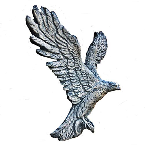 Steinfigur Adler Falke Vogel Greifvogel Figur Massiv Raubvogel Gartenfigur Frostfrei Farbe grau / Patiniert H.37 cm