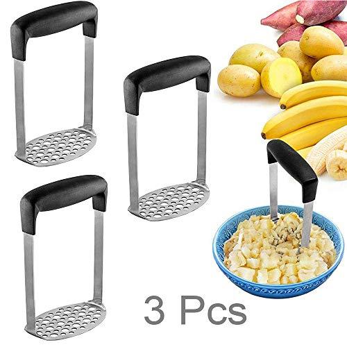 Aardappel Masher 3 Stks - Zware Klasse Ricers in Dikkere RVS van Non-Welding, met Ergonomische Horizontale Handgreep, Voedselpers voor Fruit en Groente