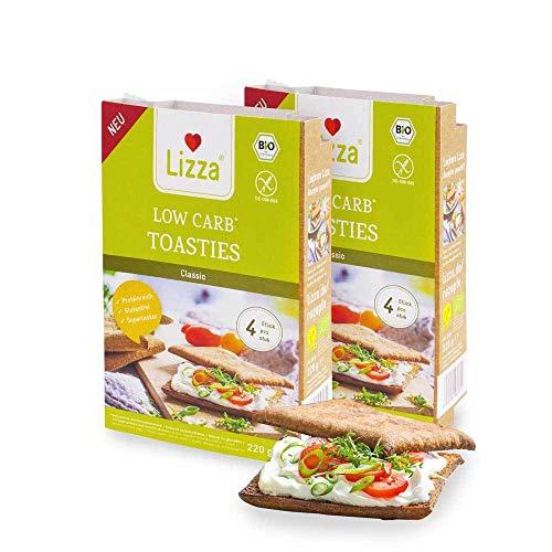 Lizza Low Carb Toasties | bis zu 94% weniger Kohlenhydrate | Bio. Glutenfrei. Vegan. Kohlenhydratarm. Proteinreich. Ballaststoffreich | Geeignet für Vegane, Glutenfreie und Keto Ernährung | 8 Toasties