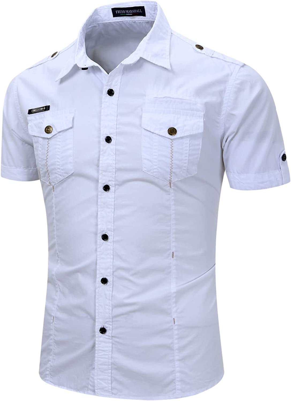 Zainafacai Men's Casual Button Down Shirt Business Chambray Dress Shirt Regular-Fit Short-Sleeve Solid Linen Cotton Shirt