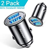 [2-Pack] AINOPE Car Charger, 4.8A All Metal Car Charger Adapter Dual USB Cigarette Lighter USB Charger Mini...
