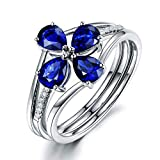 Amody Tamaño Personalizado S925 Plata esterlina Lágrima simulado Azul Zafiro Flor Desmontable Promesa Anillo para Mujeres niñas Tamaño 21