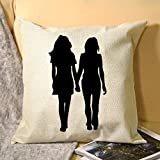 No - Branded Decorative Cover Sets Pillow Protectors Cushion Covers Standard Size LGBT Les Lesbian Girlslove,True Love,Couples Walkers for Sofá Home Bedroom 18x18