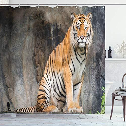 N\A Zoo Duschvorhang, Bengal Tiger Feline Predator Aggressive Jäger Fleischfresser Afrika Safari, Stoff Stoff Badezimmer Dekor Set mit Haken, Hellbraun