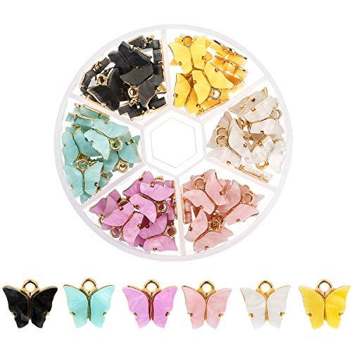 72 Stücke Acryl Schmetterling Anhänger Bunte Schmetterling Form Charms Schmetterling Charms Mini Schmetterling Anhänger für Ohrringe Armbänder Halskette, DIY Schmuck Anhänger Herstellung (6 Farben A)