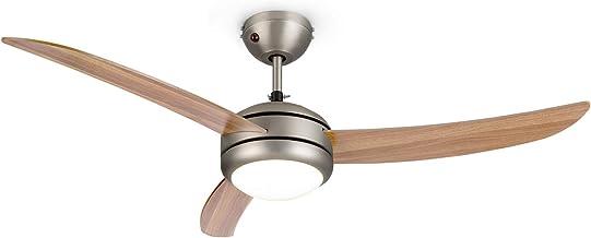 """KLARSTEIN El Paso - Ventilateur de Plafond 2 en 1: Ventilateur et plafonnier, Diamètre: 52""""(132 cm), 3 pales, débit d'air:..."""