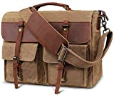 emissary Laptop Messenger Bag 15.6'' Laptop Bag Canvas and Leather Shoulder Briefcase 15.6'' Satchel and Computer Bag Brown Half Leather