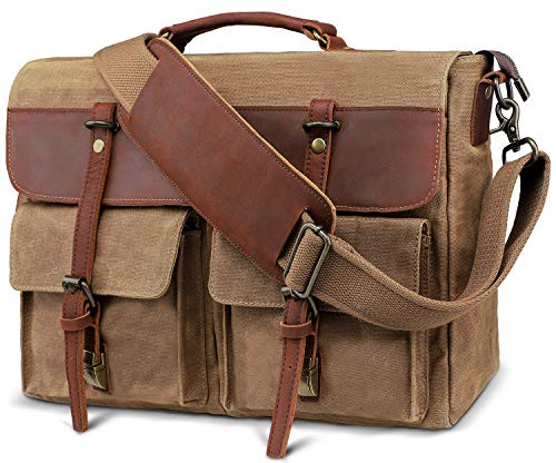 emissary Laptop Messenger Bag (15.6'' Laptop Bag) | Canvas and Leather Shoulder Briefcase |15.6'' Satchel and Computer Bag (Brown Half Leather)
