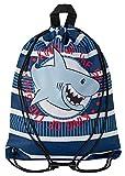 Aminata Kids - Kinder-Turnbeutel für Junge-n und Mädchen mit Delfin-e Hammerhai Weisse Shark Blau-Hai Haie Hai-Fisch-e Sport-Tasche-n Gym-Bag Sport-Beutel-Tasche hell-blau Weiss rot Streifen
