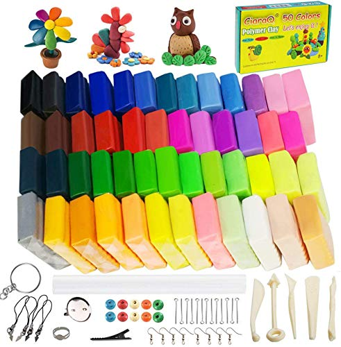 CiaraQ 50 Colors Oven Bake Modeling Clay with Sculpting Tools, Safe & Non-Toxic, Polymer Clay Starter Kit for Kids and Beginners.