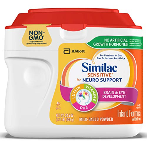 Similac Sensitive For Neuro Support, Non-GMO Infant Formula with Iron, For Fussiness and Gas, Baby Formula Powder, 1.41 lb (Pack of 6)