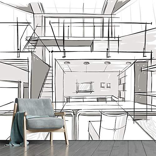 Papel de Parede Arquitetura Urbano Projeto Sala Adesivo - 412pcm