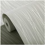 Blooming Wall:Non-Woven Classic Plain Stripe Moonlight Forest Wallpaper,,20.8 In32.8 Ft=57 Sq ft Per Roll,Silver Grey