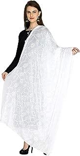 Khushboo matching Women's Chiffon Aari Work Dupatta (92, White, Free Size)