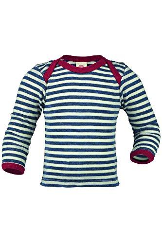 Engel , Baby Unterhemd/Schupfhemd Langarm, 100% kbT Wolle (98/104, Blau Melange/Natur)