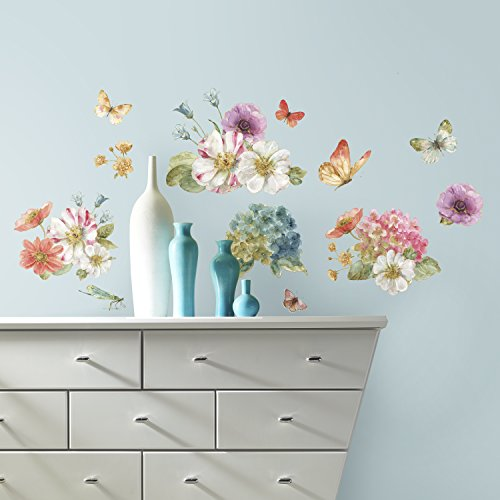 RoomMates RMK3262SCS Lisa Audit Garden Bouquet Peel And Stick Wall Decals Multi  Color