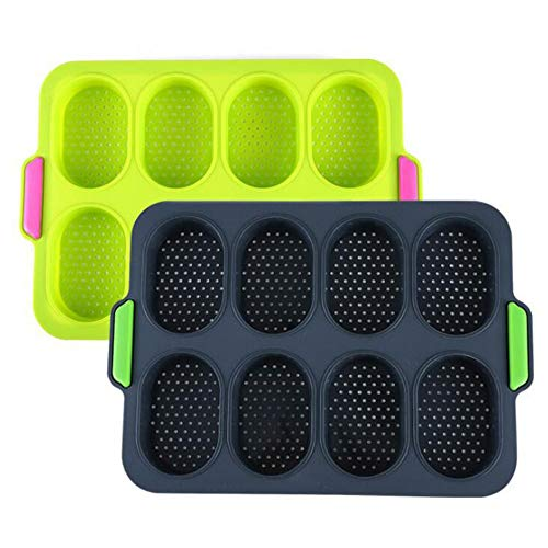 A-XINTONG Food Grade Nonstick Silicone Bread Mold, Household Party DIY Perforated Fench Bread Forms Tray Mini Baguette Round Loaf Baking Pan Kitchen Baking Tools (Green)