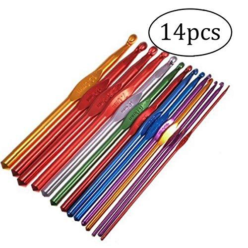 14pcs Multi Tamaño Clasificado Colorido TPR Suave Mango De Aluminio Ganchos De Ganchillo Agujas De Tejer Conjunto De Accesorios Kniting Tamaño: 2-10mm