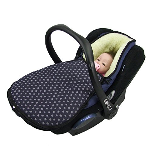 BAMBINIWELT Winterfußsack für Babyschale MAXI-COSI Cabrio Fix mit WOLLE STERNE (STERNE marine WOLLE)