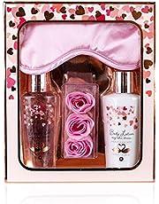 Accentra Cadeauset Heart Cascade - beautyset met slaapmasker, verzorgende douche, bodylotion en badconfetti - het bijzondere cadeau voor alle vrouwen, dames, mama, meisjes