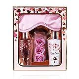 Accentra Heart Cascade Set de beauté avec masque de sommeil, soin de douche, lotion pour le corps et confettis de bain - En coffret cadeau spécial pour femmes et filles