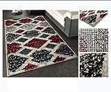 COMERCIAL CANDELA FELPUDOS Y ALFOMBRAS Alfombra de Salón Frise Pelo Largo Tupido Rectangulos Geometricos Modernos Color (Granate, 160_x_230_cm)