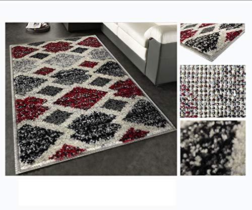 Alfombra de Salón Frise Pelo Largo Tupido Rectangulos Geometricos Modernos Color (Granate, 160_x_230_cm)