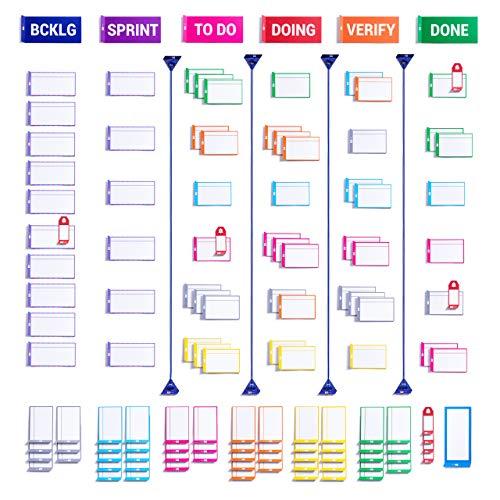 PATboard Vollständiges Tool Set für Scrum Board und Kanban Board – Magnetische Karten für Magnettafel beschreibbar