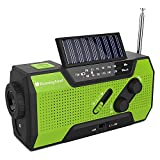 Wind Up Solar Radio,Solar Powered Radio Emergency Hand Crank Radio with Reading Lamp,LED Flashlight,2000mAh Power Bank and SOS Alarm by RunningSnail|Emergency Use for Camping,Hiking (MD-090)