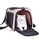 petisfam Soft Pet Carrier for Medium Cats and Small Dogs with Cozy Bed, 3 Doors, Top Entrance | Airline Approved, Escape-Proof, Breathable, Leak-Proof, Easy Storage (Pink)
