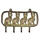 IndianShelf Handmade Pack of 1 Antique Sitting Cats Brass Wall Hooks Cloth Hanger Coat Holder