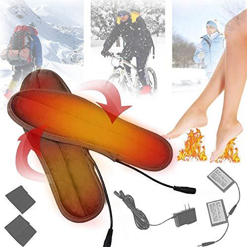 Preisvergleich Produktbild suneagle Elektrische Einlegesohle Zum Skifahren, Beheizte Einlegesohle Akku, FußWäRmer, Baumwollstoff, Kohlefaserheizung, Doppelschicht Warm,  Waschbar, 8-10 Stunden Arbeiten, Sport Im Freien, 37-38-yards
