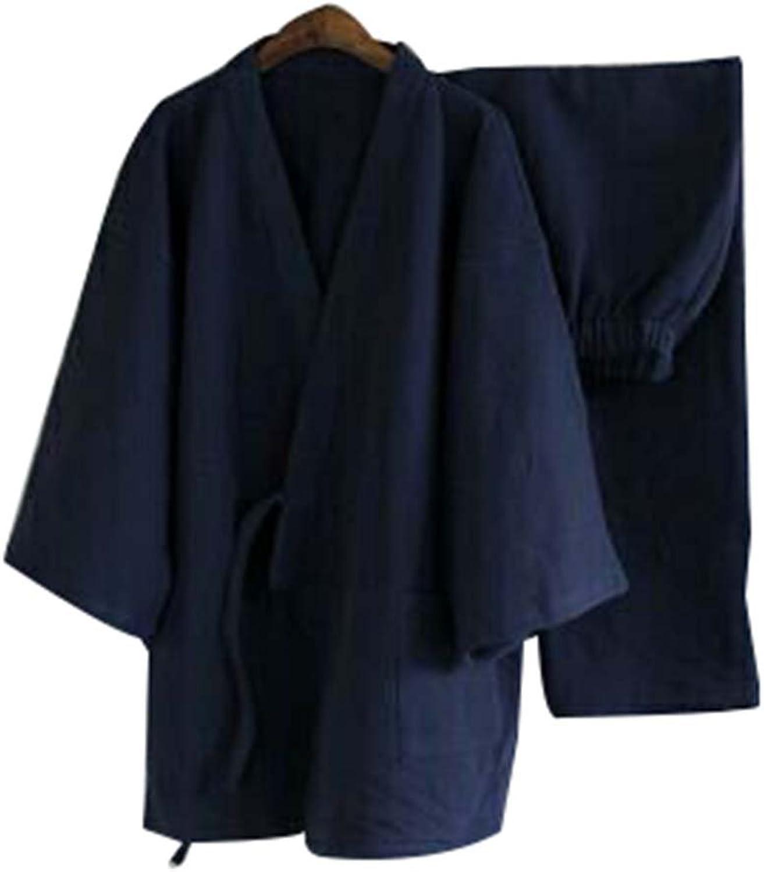 Men's Kimono Pajamas Autumn&winter Bathrobe Breathable Cotton Pajamas Suit